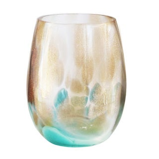 Simone Teal/Gold Stemless Goblets - Set of 4
