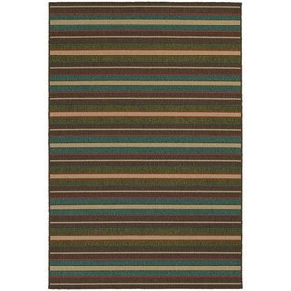 Style Haven Horizonal Stripes Brown Indoor/Outdoor Area Rug (5'3 x 7'6)