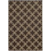 Style Haven Interlocking Circles Brown/Beige Geometric Indoor/Outdoor Rug - 5'3 x 7'6