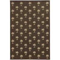 Style Haven Floating Palms Brown Polypropylene Indoor/Outdoor Area Rug - 5'3 x 7'6