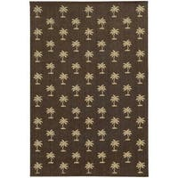 "Style Haven Floating Palms Brown Polypropylene Indoor/Outdoor Area Rug (5'3 x 7'6) - 5'3"" x 7'6"""