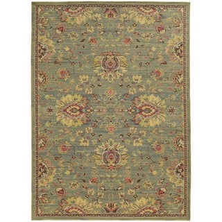Floral Traditions Blue/Beige Indoor/Outdoor Area Rug (6'7 x 9'6)