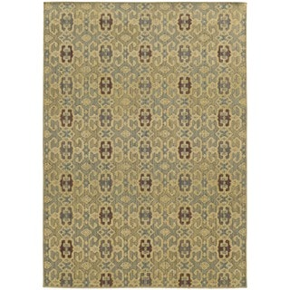 Style Haven Portico Traditions Blue/Beige Indoor/Outdoor Area Rug (6'7 x 9'6)