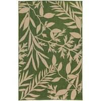 Style Haven Botanical Impressions Green/Beige Indoor/Outdoor Area Rug - 6'7 x 9'6