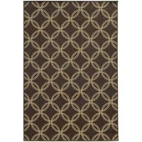 "Style Haven Interlocking Circles Brown Indoor/Outdoor Area Rug (6'7 x 9'6) - 6'7"" x 9'6"""