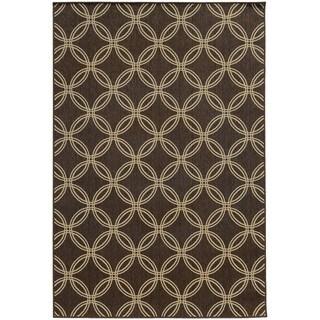Style Haven Interlocking Circles Brown Indoor/Outdoor Area Rug - 6'7 x 9'6