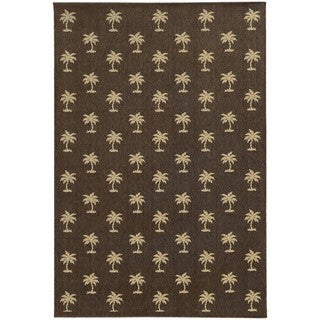 Style Haven Floating Palms Brown Indoor/Outdoor Area Rug (6'7 x 9'6)