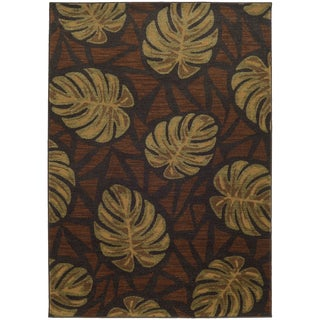 Style Haven Tropical Impressions Grey/Brown Indoor/Outdoor Area Rug (6'7 x 9'6)