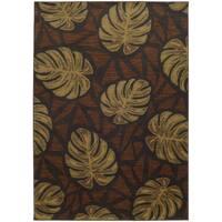 Style Haven Tropical Impressions Grey/Brown Indoor/Outdoor Area Rug - 6'7 x 9'6