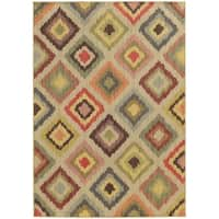 "Style Haven Diamond Ikat Beige Indoor/Outdoor Area Rug (3'10 x 5'5) - 3'10"" x 5'5"""