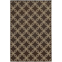 "Style Haven Interlocking Circles Brown/Beige Geometric Indoor/Outdoor Rug (3'7 x 5'6) - 3'7"" x 5'6"""