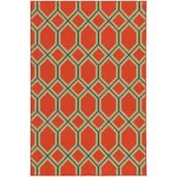 Style Haven Geometric Lattice Orange Indoor/Outdoor Area Rug - 3'7 x 5'6