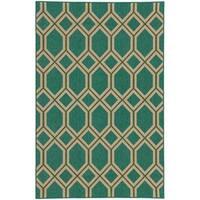 """Style Haven Green/Beige Geometric Lattice Indoor/Outdoor Area Rug (3'7 x 5'6) - 3'7"""" x 5'6"""""""