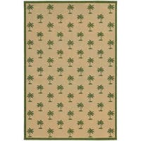 Style Haven Floating Palms Beige/Green Polypropylene Indoor/Outdoor Area Rug - 3'7 x 5'6