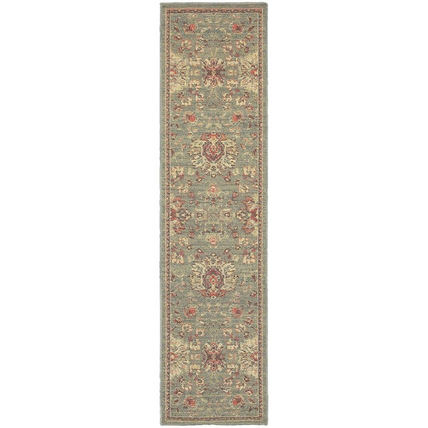 Style Haven Floral Traditions Blue/Beige Polypropylene Indoor/Outdoor Area Rug (1'10 x 7'6) - 1'10 x 7'6