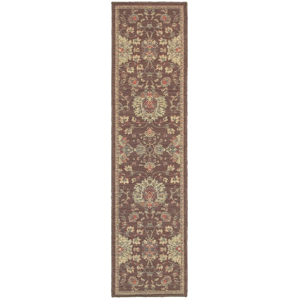 Style Haven Floral Traditions Brown Indoor/Outdoor Area Rug (1'10 x 7'6)