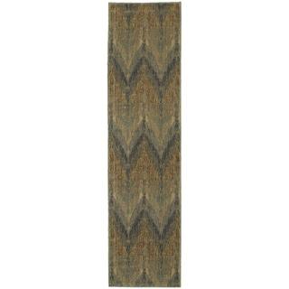 Style Haven Chevron Ikat Blue/Beige Indoor/Outdoor Area Rug (1'10 x 7'6)