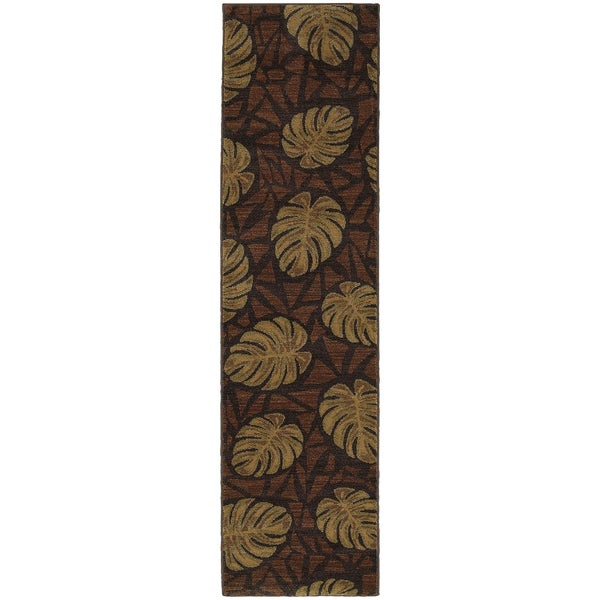 "Style Haven Tropical Impressions Brown Indoor/Outdoor Area Rug (1'10 x 7'6) - 1'10"" x 7'6"""