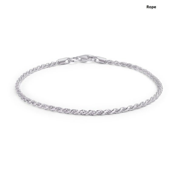 .925 Thin Sterling Silver Unisex Bracelets - Assorted Styles.