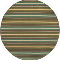 "Style Haven Brown Polypropylene Horizonal Stripes Indoor/Outdoor Area Rug (7'10 Round) - 7'10"" x 7'10"" rnd"