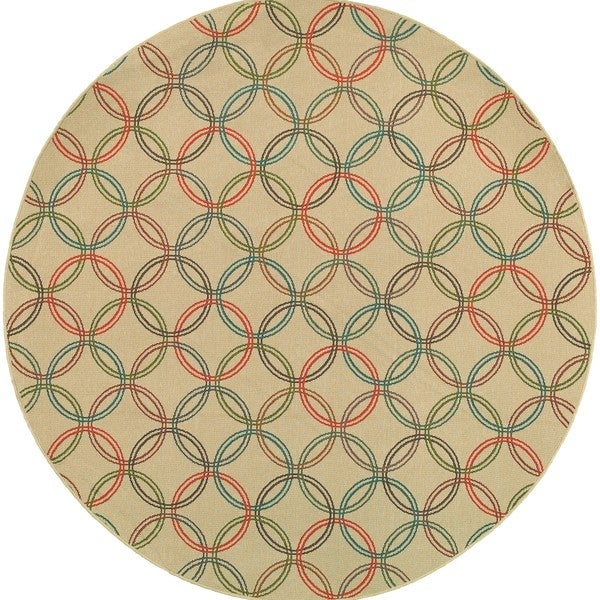 Style Haven Interlocking Circles Beige Indoor/Outdoor Round Area Rug - 7'10 x 7'10