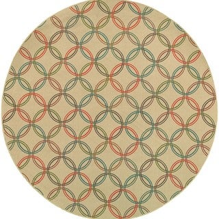 Style Haven Interlocking Circles Beige Indoor/Outdoor Round Area Rug (7'10 x 7'10)