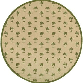Floating Palms Indoor/Outdoor Area Rug (7'10 Round)