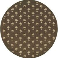 Style Haven Floating Palms Brown Indoor/ Outdoor Round Area Rug - 7'10x7'10