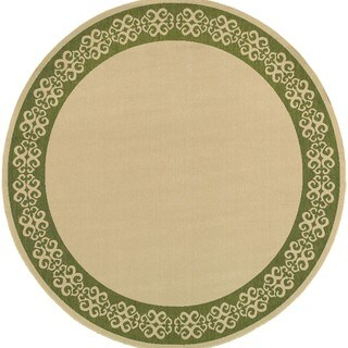 Style Haven Beige/ Green Scroll Border Indoor/ Outdoor Area Rug (7'10 Round)