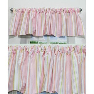 Nurture Pink Stripe Valances, 2 Window Saver Pack