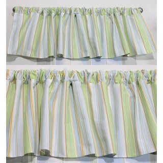 Nurture Blue Stripe Valances, 2 Window Saver Pack