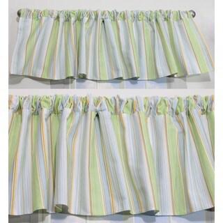 Nurture Blue Stripe Valances, 2 Window Saver Pack