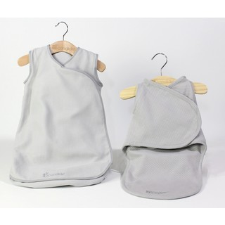 Candide Grey Baby Luxury Swaddling Blanket and Infant Sleeper Bag Bundle