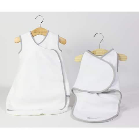 Candide Baby Luxury White Swaddling Blanket and Infant Sleeper Bag Bundle