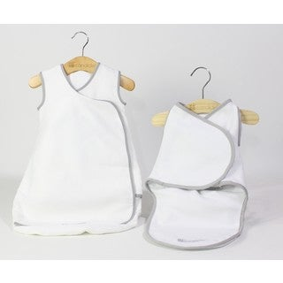Candide Baby Luxury White Swaddling Blanket and Infant Sleeper Bag Bundle