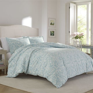 Laura Ashley Kensington Scroll Blue Flannel Comforter Set