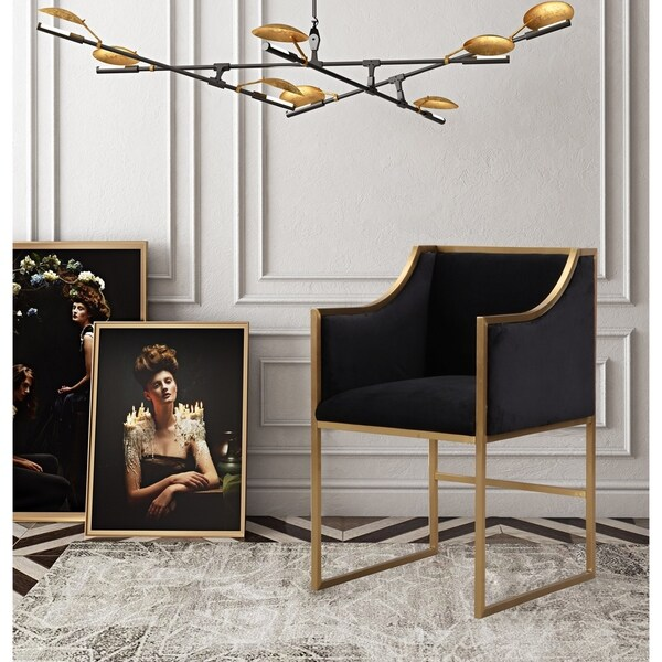 Gentil Atara Black Velvet Gold Chair