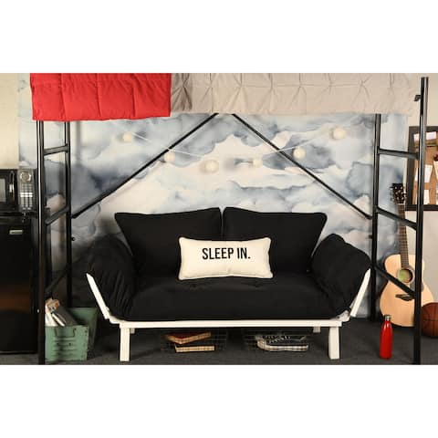 Porch & Den Ligon Dorm Dreamer Futon with White Metal Finish