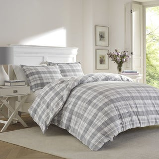 Laura Ashley Mulholland Plaid Grey Flannel Duvet Set