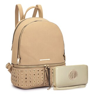 Dasein Round Studded Backpack with Matching Wallet