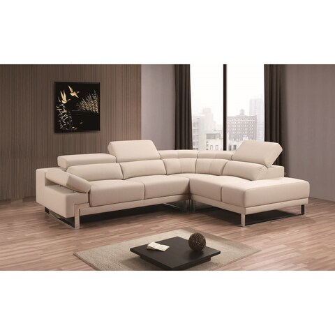 Melia Sectional Leather Air in Beige Color- Right Facing