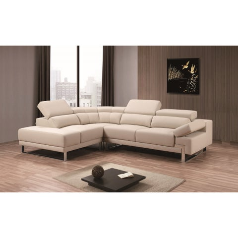 Melia Sectional Leather Air in Beige Color- Left Facing