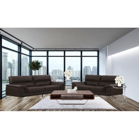 Goldie Sofa Set Living Room Top Grain Leather Match In Brown