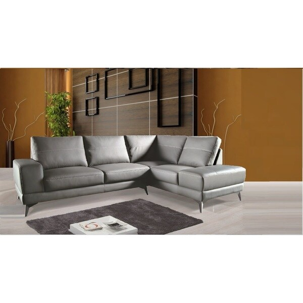 Zoe Sectional Top Grain Leather Sofa Facing Right  Stone Grey Color