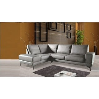 Zoe Sectional Top Grain Leather Sofa Facing Left  Stone Grey Color