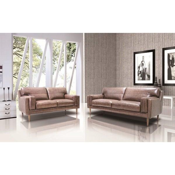 Poshini Full Leather Sofa Set