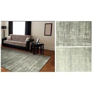 Ashanti Grey/Silver Geometric Area Rug (8'6 x 11'6)