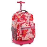 J World New York Sunrise Pink Atlas Rolling Backpack