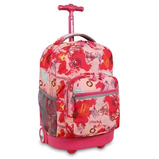J World New York Sunrise Pink Atlas Rolling Backpack