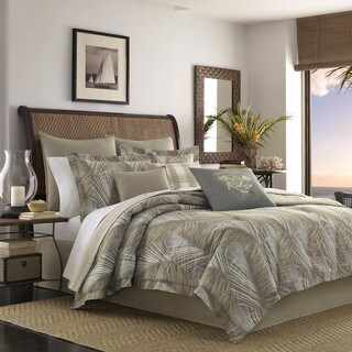 Tommy Bahama Raffia Palms Pewter Duvet Cover Set